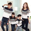 Striped Sweatshirt Family Clothing Clothes for Mother Daughter Father Son Family Set Matching Clothes White Gray PRO15023