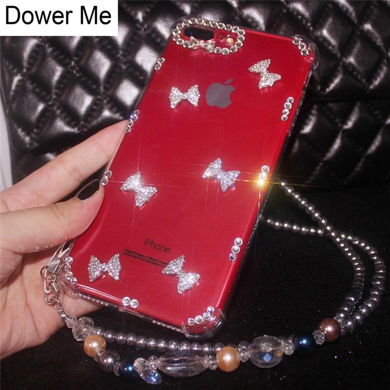 Dower Me Роскошные Модные Bling Симпатичные Diamond бантом чехол для Iphone X 8 7 6 6 S Plus для samsung Galaxy Note 8 S9 S8 плюс