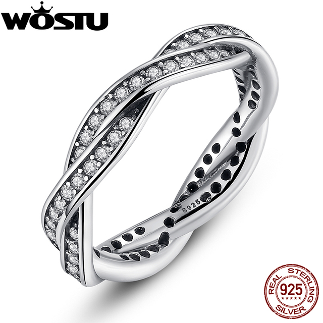 925 Sterling Silver BRAIDED PAVE SILVER RING with Clear CZ Authentic Twist Of Fate Stackable Ring Jewelry 7116