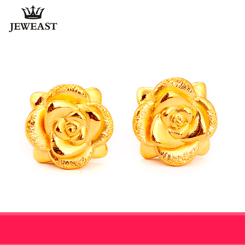 24K Pure Gold Earring Real AU 999 Solid Gold Earrings Nice 3D Rose Upscale Trendy Classic Party Fine Jewelry Hot Sell New 2018