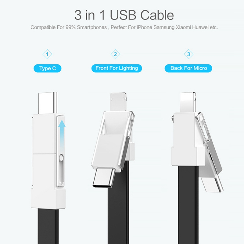 FLOVEME 3 In 1 Mini Keychain Charging Cable Micro Usb Type C For IPhone IPod Fast Charger Cord Short  For Samsung One Plus 7 Pro-in Mobile Phone Cables from Cellphones & Telecommunications on AliExpress