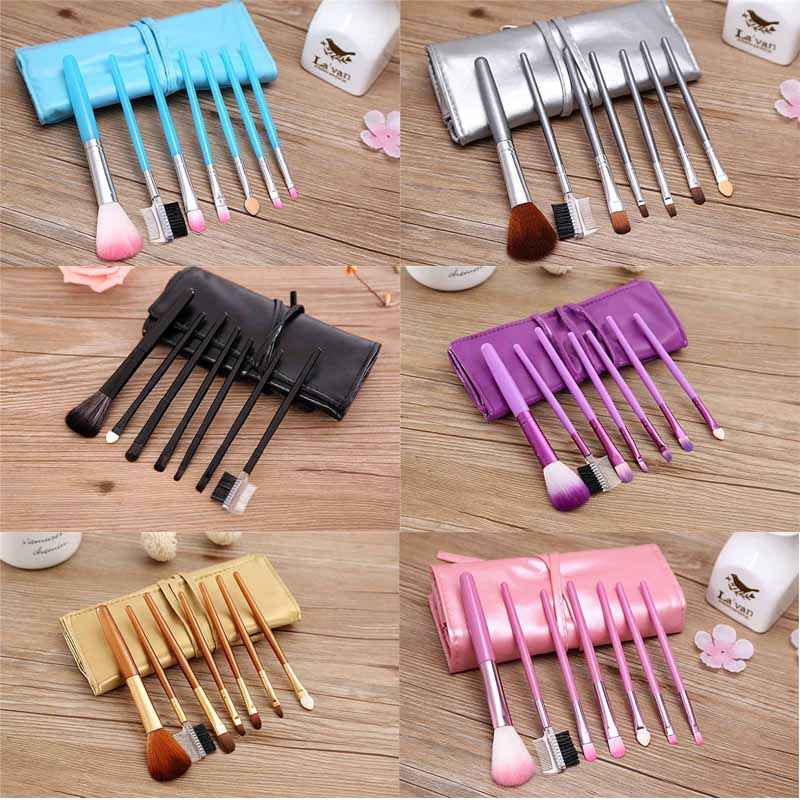 Professional Foundation Powder Brush Cosmetic Brush Set with Leather Bag Package Makeup Brush 7pcs moschino couture юбка длиной 3 4