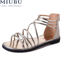 MIUBU Women Sandals Gold Silver Black Peep Toe Gladiator