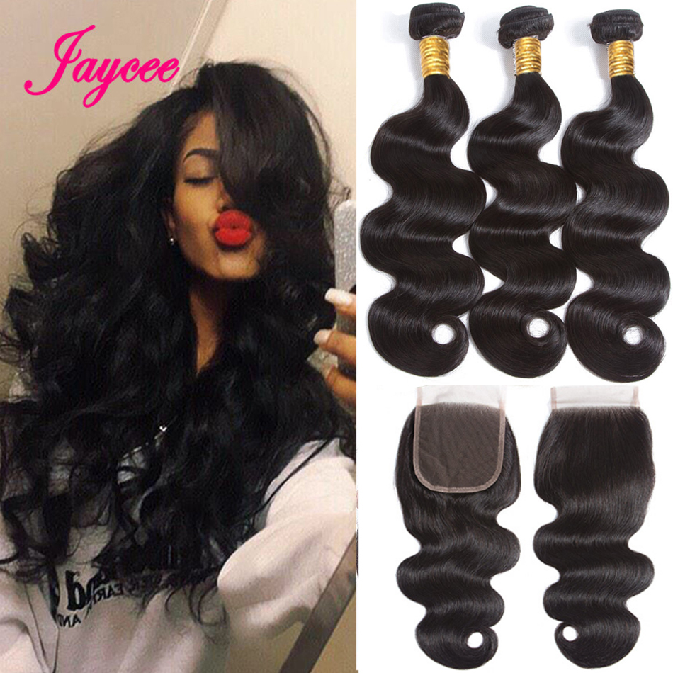 Jaycee BodyWave Bundles With Closure 100% Remy Human Hair Bundles With Closure Brazilian Hair Weave Bundles Double Weft