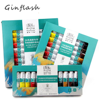 10ML 24colors/set WINSOR & NEWTON Acrylic Paints set Hand painted wall painting textile paint colored Art Supplies AOA020 24