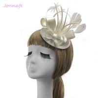 Jonnafe Ivoire Plume Femmes De Bal Chapeau De Cheveux De Mariage Accessoires de Mariée Chapeaux Cheveux Clip Bijoux