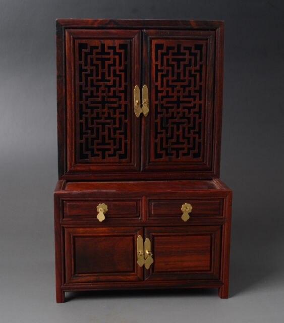 Exquis chinois classique Antique Imitation Qing dynastie vieux style palissandre armoire armoire Mini meubles