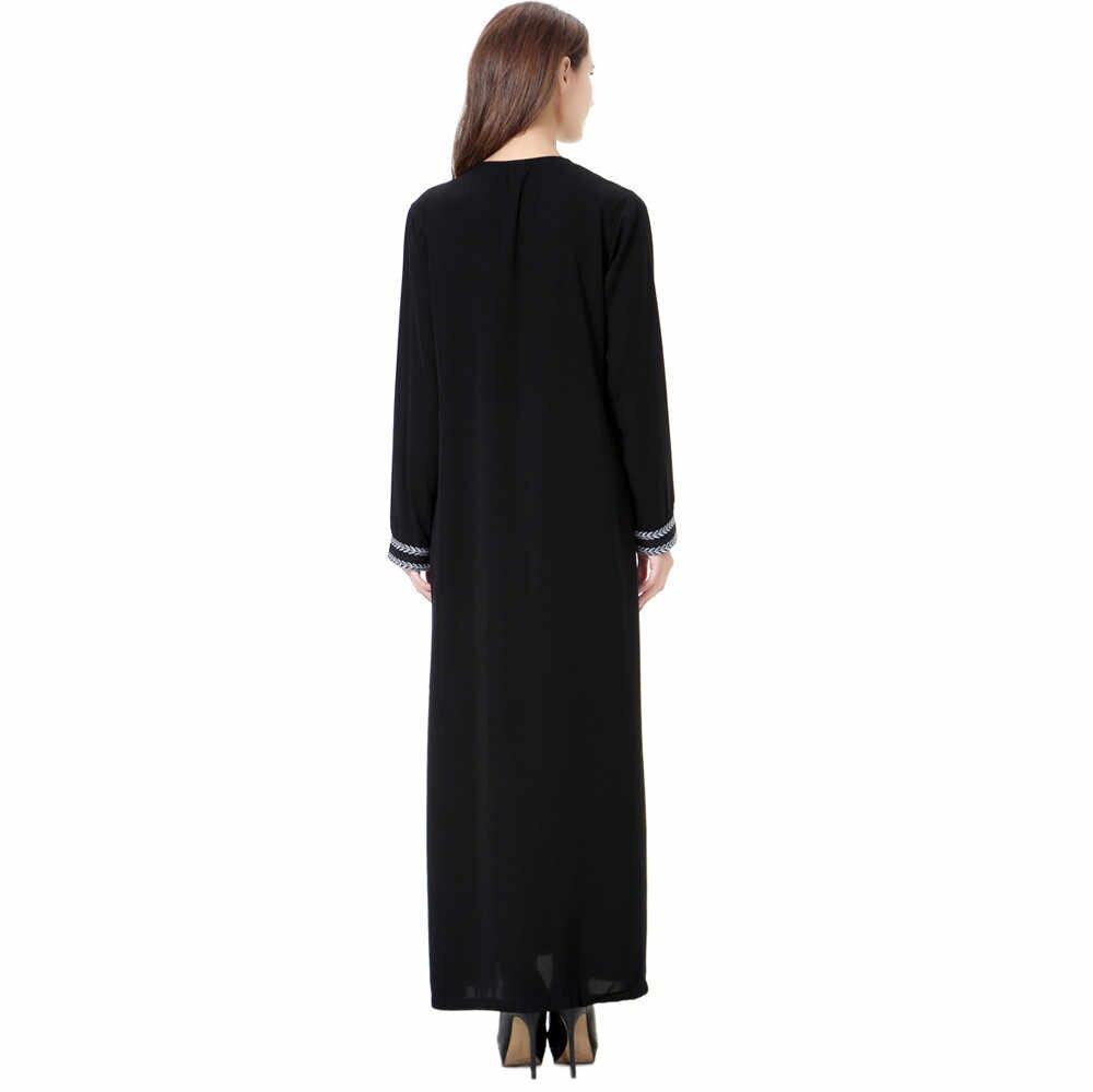 CHAMSGEND женские повседневные платья с длинным рукавом в винтажном стиле Абая для женщин платье хиджаб C30118