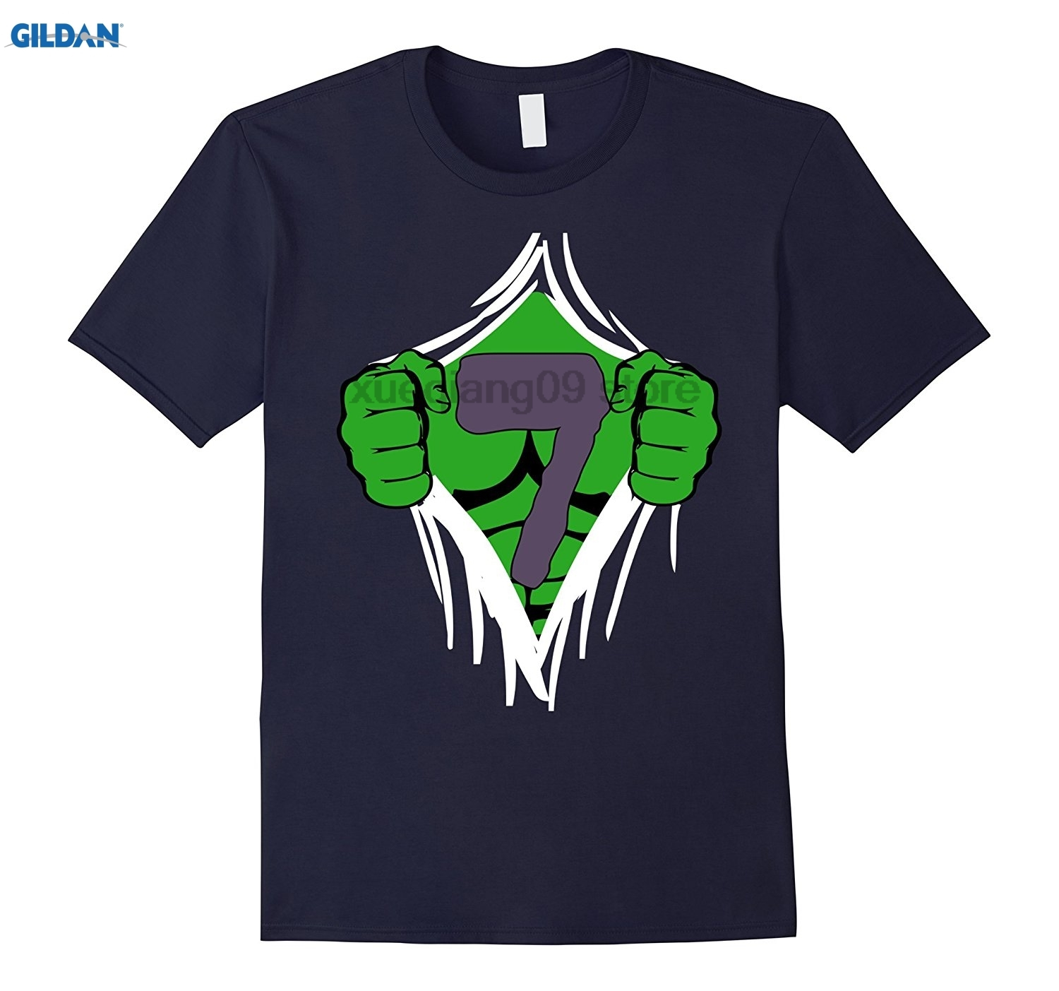 Detail Feedback Questions About GILDAN Green Man Chest Superhero Birthday Shirt For 7 Year Old Boys On Aliexpress