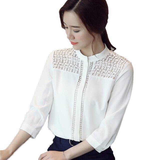 2017 automne chemise blanche femmes tunique 3 4 manches dentelle chemisier femmes cor enne. Black Bedroom Furniture Sets. Home Design Ideas