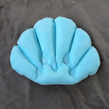 Bathroom Supply Shell Shape PVC Inflatable Bath Pillows Suction Cups  Terrycloth Vinyl Covering blue/green