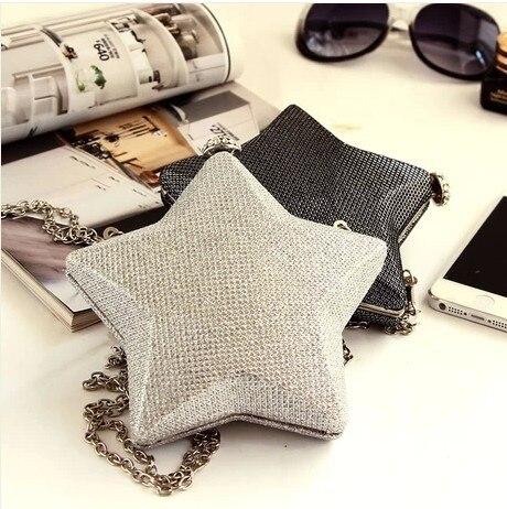 New 2016 classic retro cute mini diamond pentagram shape clutch evening bag ladies handbag chain bag shoulder bag free shipping