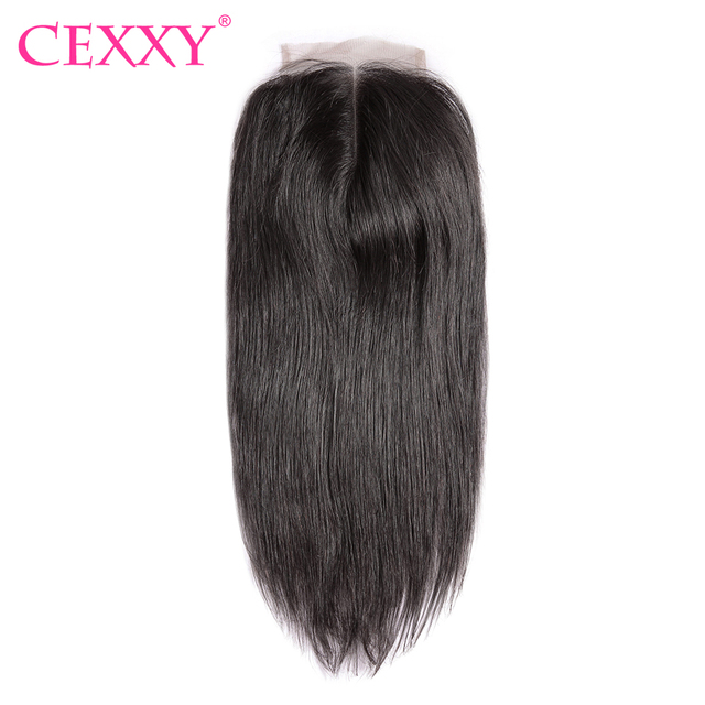 CEXXY Brazilian Lace Closure Straight Remy Hair Natural Color 100% Human Hair 4''x 4'' Free Shipping