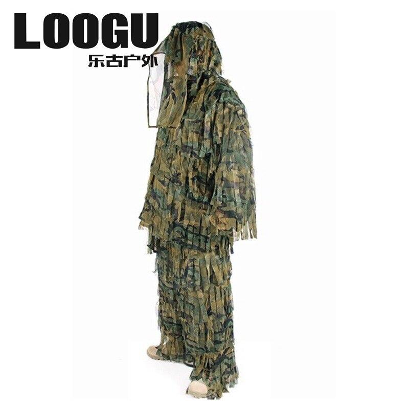 LOOGU extérieur forêt Camouflage tactique Camo Ghillie costume Kit cape militaire 3D feuille Jungle chasse Camouflage Sniper vêtements