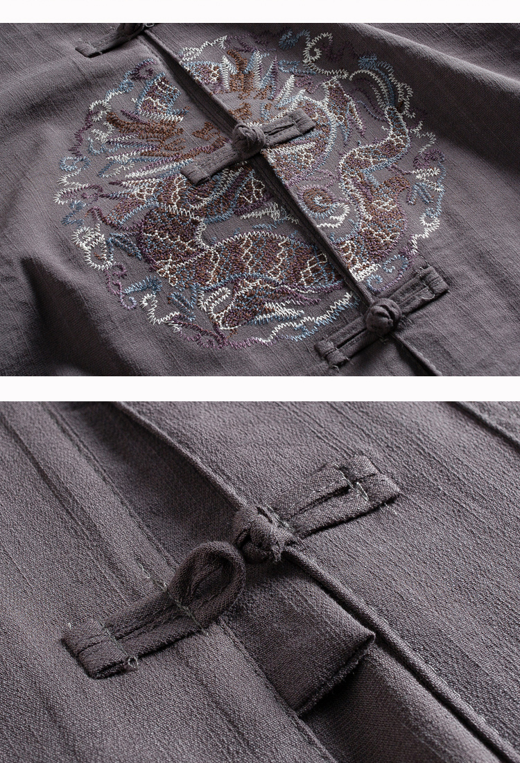 WAEOLSA Men Ethnical Shirt And Pant Suits Black Dark Gray Twinset Man Linen Tang Tunic and Trouser Set Male Oriental 2PCS Pant Suits Set Summer (7)