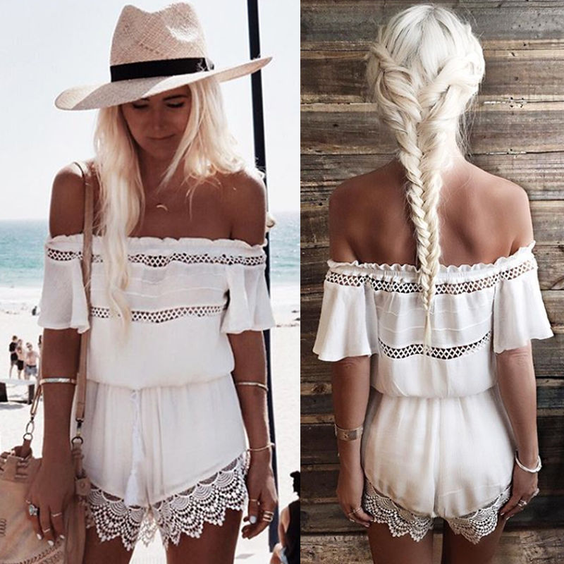 1db34519b8 Hot Womens Mini Playsuit Ladies Jumpsuit Summer Shorts Beach Off shoulder  Lace Jumpsuit -in Jumpsuits from Women's Clothing on Aliexpress.com |  Alibaba ...