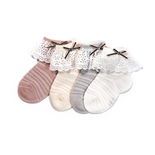 Niduo Bear Lace Socks For Girl Age 0-4Y Baby Kids Toddlers Girls Knee Leg Warmer Clothing