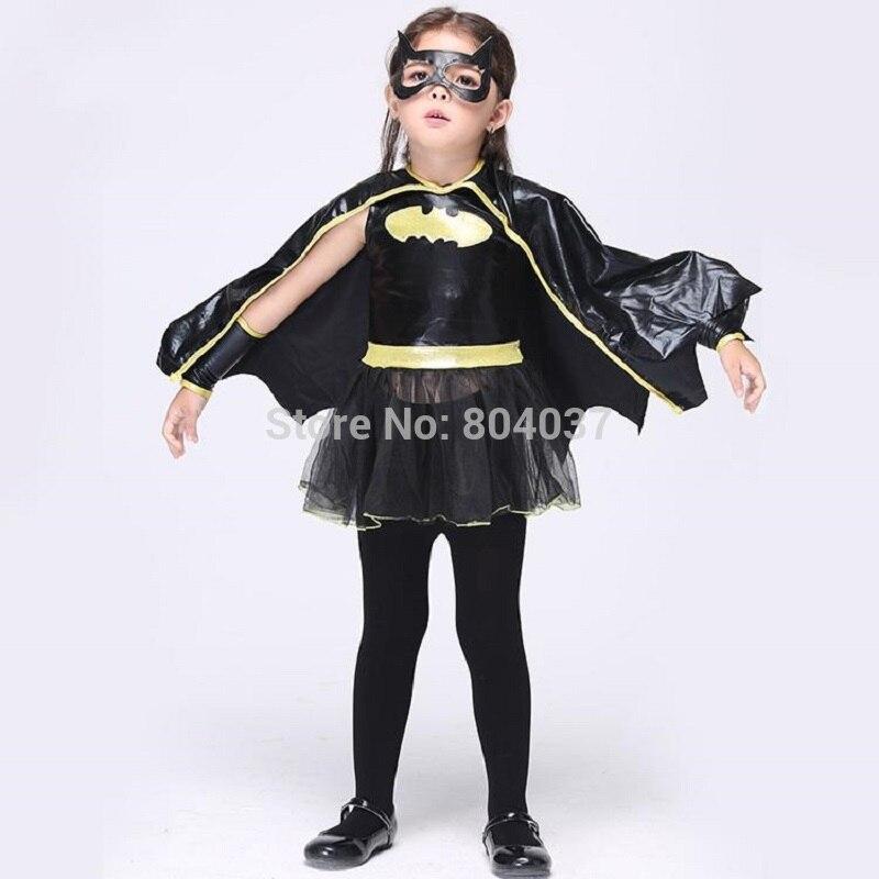 3-11Years Girls Black Batman Costume Party Cosplay Costume Dress Perform Dress Disfrace Carnival Dress Halloween Costume Kids