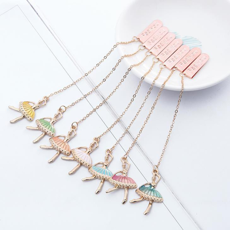 1 Pcs Kawaii Ballet Dancer Girls Metal Pendant Bookmarks Book Marker For Books Page Holders School Office Supplies Stationery