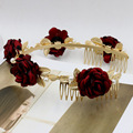 2016 Baroque Red Rose Flower Hair Bands Gold Leaf Crown Headband Hair Accessories Bride Wedding Tiaras Pearl Jewelry Hair Comb