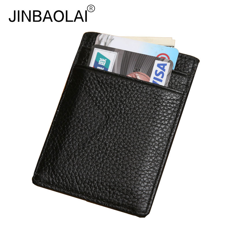 JINBAOLAI 2017 Fashion Men Business Card Holder Genuine Leather Male Card Bit Coin Purse ...
