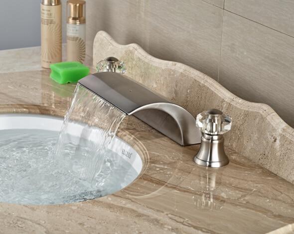 Modern Deck Mounted Basin Faucet Nickel Brushed Sink Mixer Tap Dual Crystal Handles
