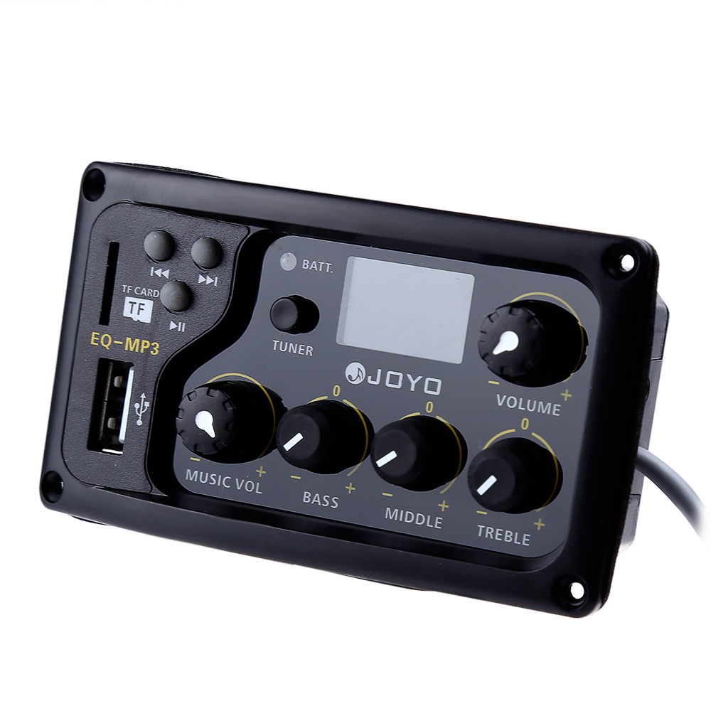 JOYO EQ-MP3 Acoustic Guitar MP3 Equalizer LCD Digital 3 Band EQ Pickup Preamp with Tuning Function rocket 2 band eq preamp equalizer settings ukulele guitar pickups piezoelectric black pickup support wholesale