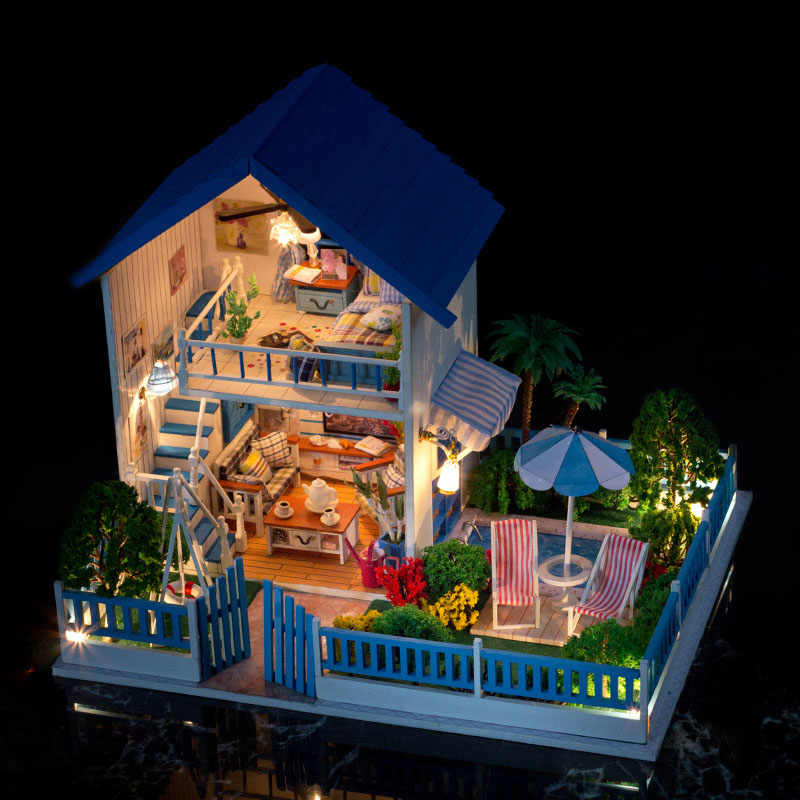 IIE CREATE Doll House Furniture DIY LED Dollhouse Miniature Villa With Garden Wooden House Room Model Girls Gifts Toy For Kids