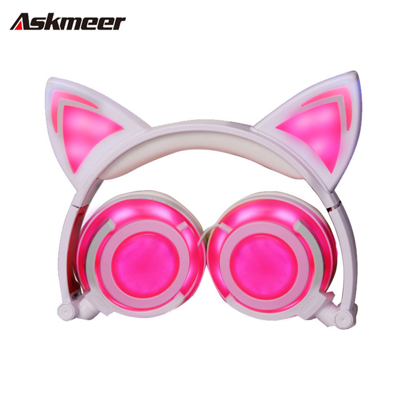 Askmeer Cute Music Headphones with Cats Ear Headset Foldable Luminous Headsets Glowing Flashing Earphone for Mobile Phone Tablet