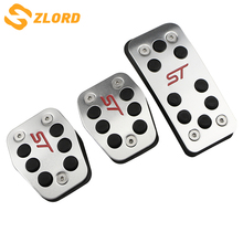 Zlord Stainless Car Pedals Covers for Ford Focus 2 3 4 MK2 MK3 MK4 Kuga Escape RS ST 2005-2017 Clutch Gas Brake Pedal Set Pads bjmycyy 2pcs set the front fog lamp stainless steel decorative box for ford escape kuga 2017