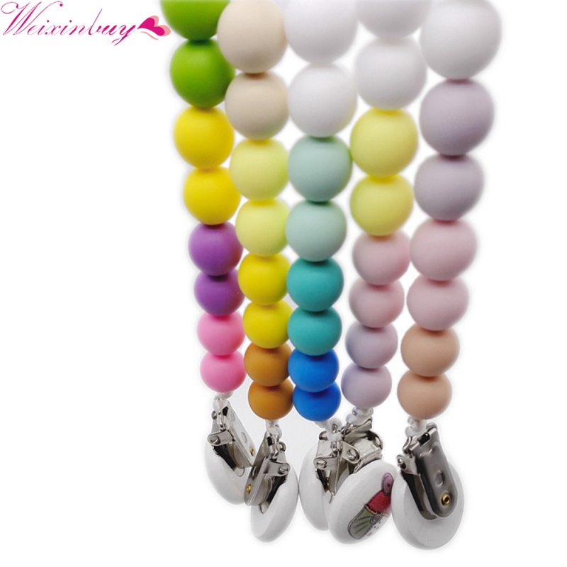 New Arrived Solid Baby Rainbow silicone nipple chain Gel Safe Soft Silicone Beads Newborn Boys Girls Cute Kids Pacifier Clips