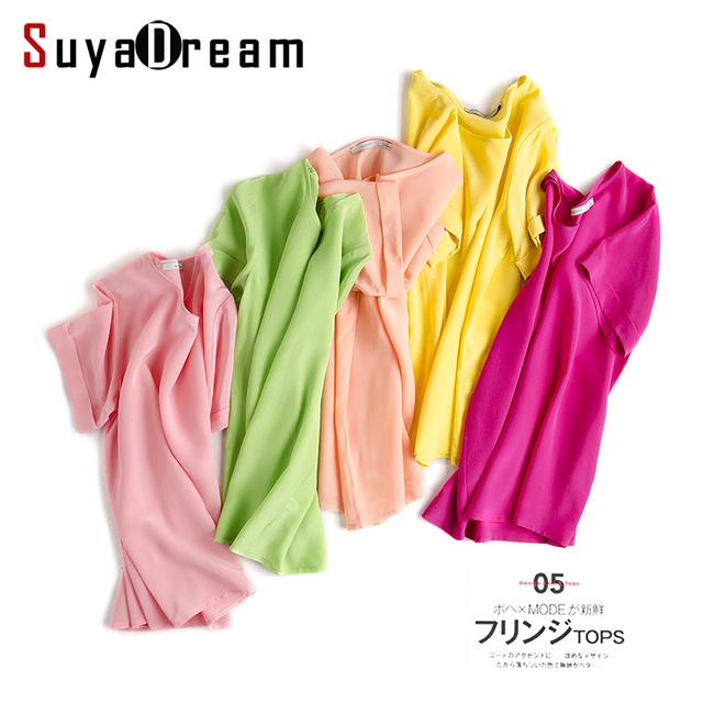 100% REAL de SEDA camisa Blusa Mulheres O pescoço camisa de manga curta chiffon Sólida Blusas femininas Primavera Verão 2017 Nova