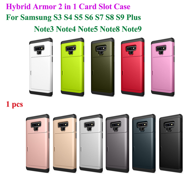 premium selection b1861 bb4a7 US $3.52 |Hybrid Armor Case For Samsung Galaxy S9 S8 S4 S5 S7 S6 Edge Plus  Note 3 4 5 8 9 Shockproof 2 in 1 Slide Card Slot Phone Cover-in Fitted ...