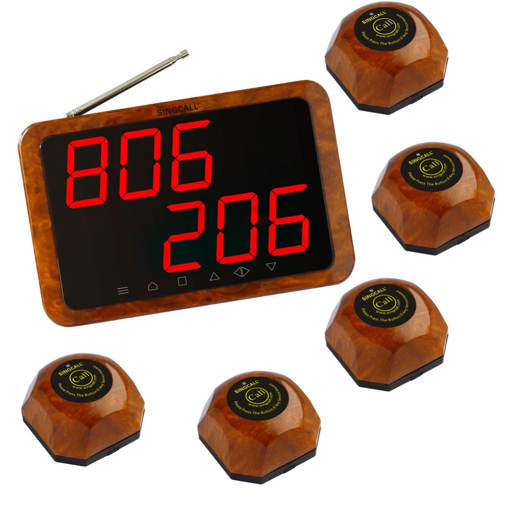 SINGCALL Wireless call bell system for a restaurant or bar of 5 tables,including 5 pcs table buzzer and 1  APE1200 displayer. 2 receivers 60 buzzers wireless restaurant buzzer caller table call calling button waiter pager system