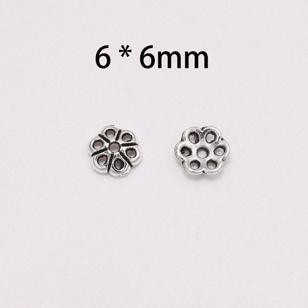 100pcs Lot 6mm Silver Bead Caps For Jewelry Bead Caps End Receptacle Hollow Out Flower Torus DIY Spaced Apart Jewelry Making in Jewelry Findings Components from Jewelry Accessories