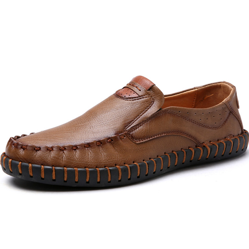 Driving Slip-On And Lace-Up Casual Leather Zapatos Loafers Falts Men Shoes High Quality Brand Handmade Manual Sewing Moccasins hot high quality men loafers leather round toe slip on casual shoes man flats driving shoes hombre zapatos comfortable moccasins