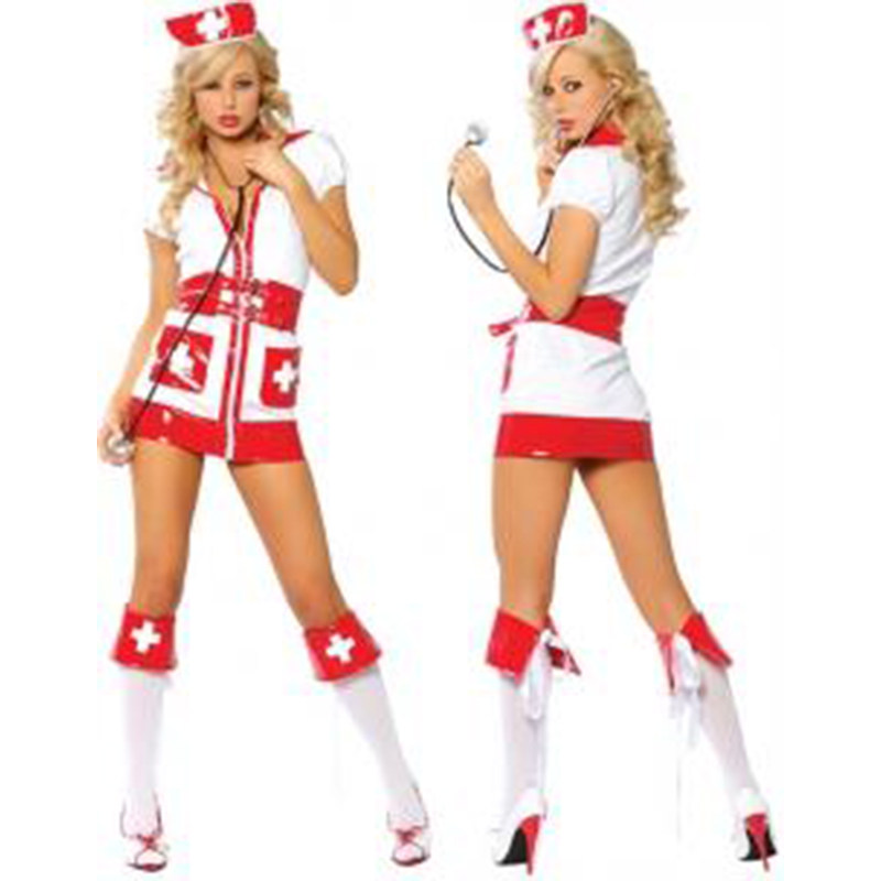 Women Sexy Wihte and Red Nurse Cosplay Fancy Dress Sexy Doctor Halloween Costume Role Play Costume W248155