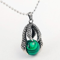 Natural Green Stone Dragon Claw Neclkace 3