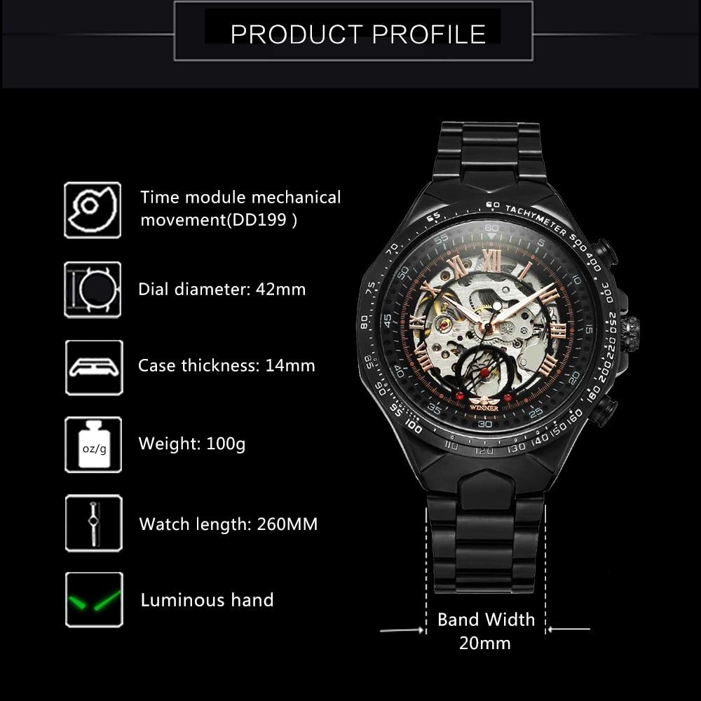 WINNER Vintage Fashion Men Mechanical Watches Metal Strap Top Brand Luxury Best Selling Vintage Retro Design Wristwatches +BOX 19