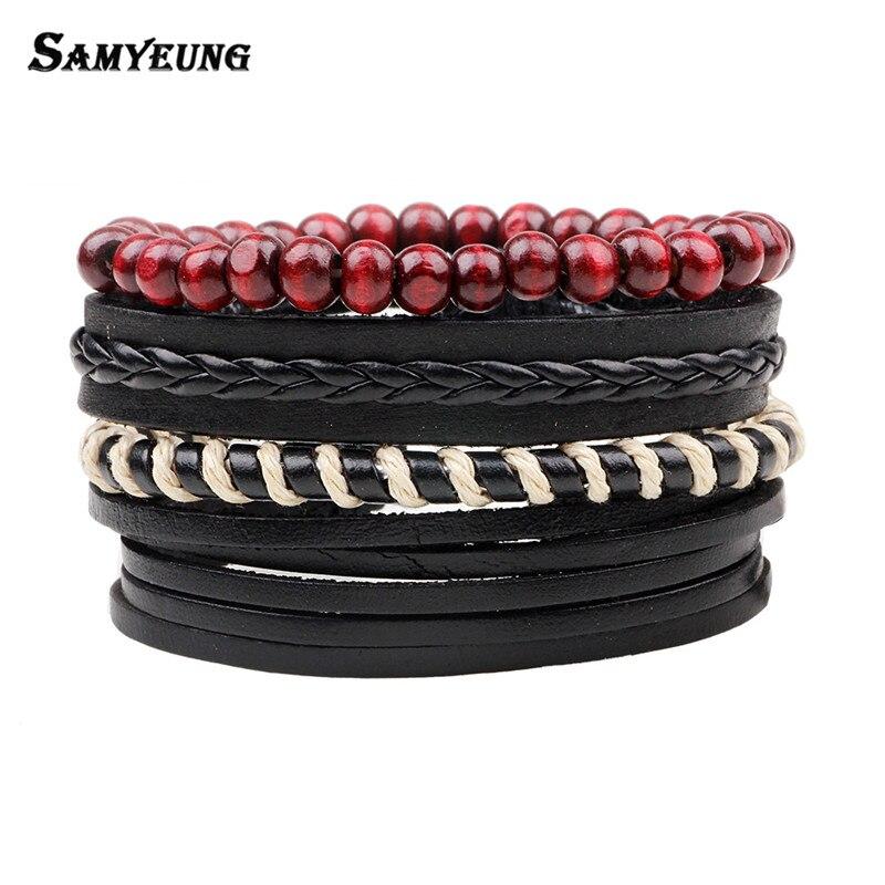 4Pcs/Lot Vintage Beads Leather Men's Bracelets Women Elastic Friendship Bracelet Male Braclet Female Braslet Turkey Jewelry