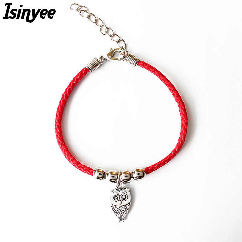 ISINYEE Fashion Red String Thread Rope Bracelet Small Owl Elephant Fish Butterfly Charm Bracelets For Women Silver Jewelry
