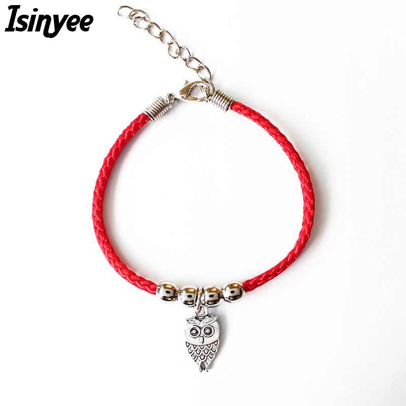 ISINYEE Fashion Red String Thread Rope Bracelet Small Owl Elephant Fish Butterfly Charm Bracelets For Women Silver Jewelry bracelet