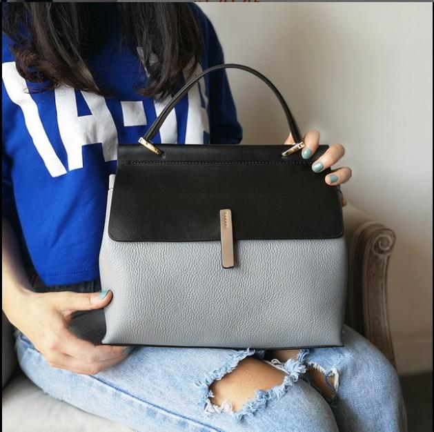 Dames décontracté fourre tout 100% en cuir véritable sacs à main de luxe femmes sacs à bandoulière Designer femme Messenger sac à main de mode-in Bandoulière Sacs from Baggages et sacs    3
