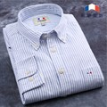 2016 Men's Oxford Striped Shirts 100% Cotton Men Long Sleeve Casual Shirts Camisas Masculinas Dress Shirts Chemise Homme