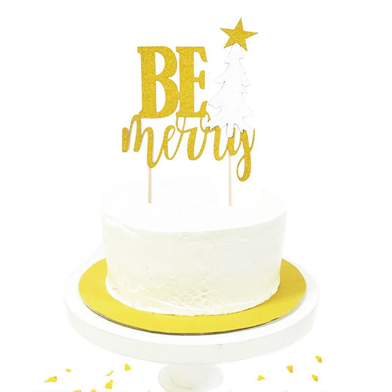 Be Merry Cupcake Topper Cartoon Cake Flags Paper Straw For Wedding Birthday Party Cake Baking Decor Supplies Xmas DIY New Year