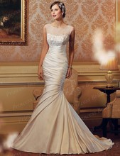 Free Shipping Wonderful Design Mermaid Boat Neck Pleat Sweep Train Satin Indonesia Wedding Dress With Beadings