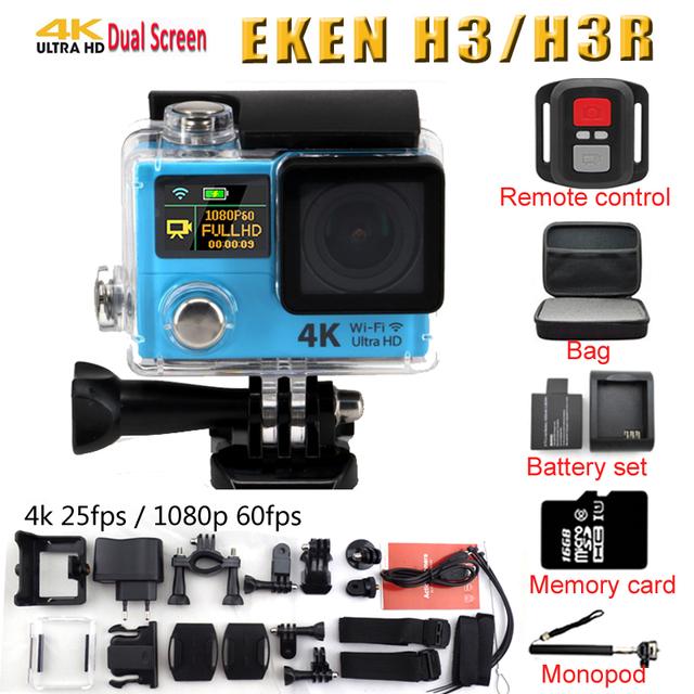 4 k H3 H3R EKEN câmera de Ação Câmera De Vídeo de Esportes de Ultra HD 4 K 170d wide angle dual screen controle remoto ir à prova d' água pro yi cam