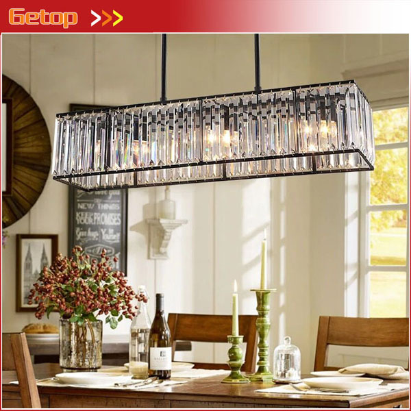 American Style K9 Crystal Pendant Light Iron Retro Crystal Rectangular Lamps for Dining room Living Room Restaurant Bedroom LED retro country pendant lights loft vintage lamp restaurant bedroom dining room pendant lamps american style for living room