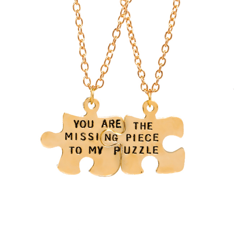 You Are The Missing Piece To My Puzzle BFF Best Friends Forever Pendant Necklace Loves Jewelry Friendship Valentine's Day Gift image