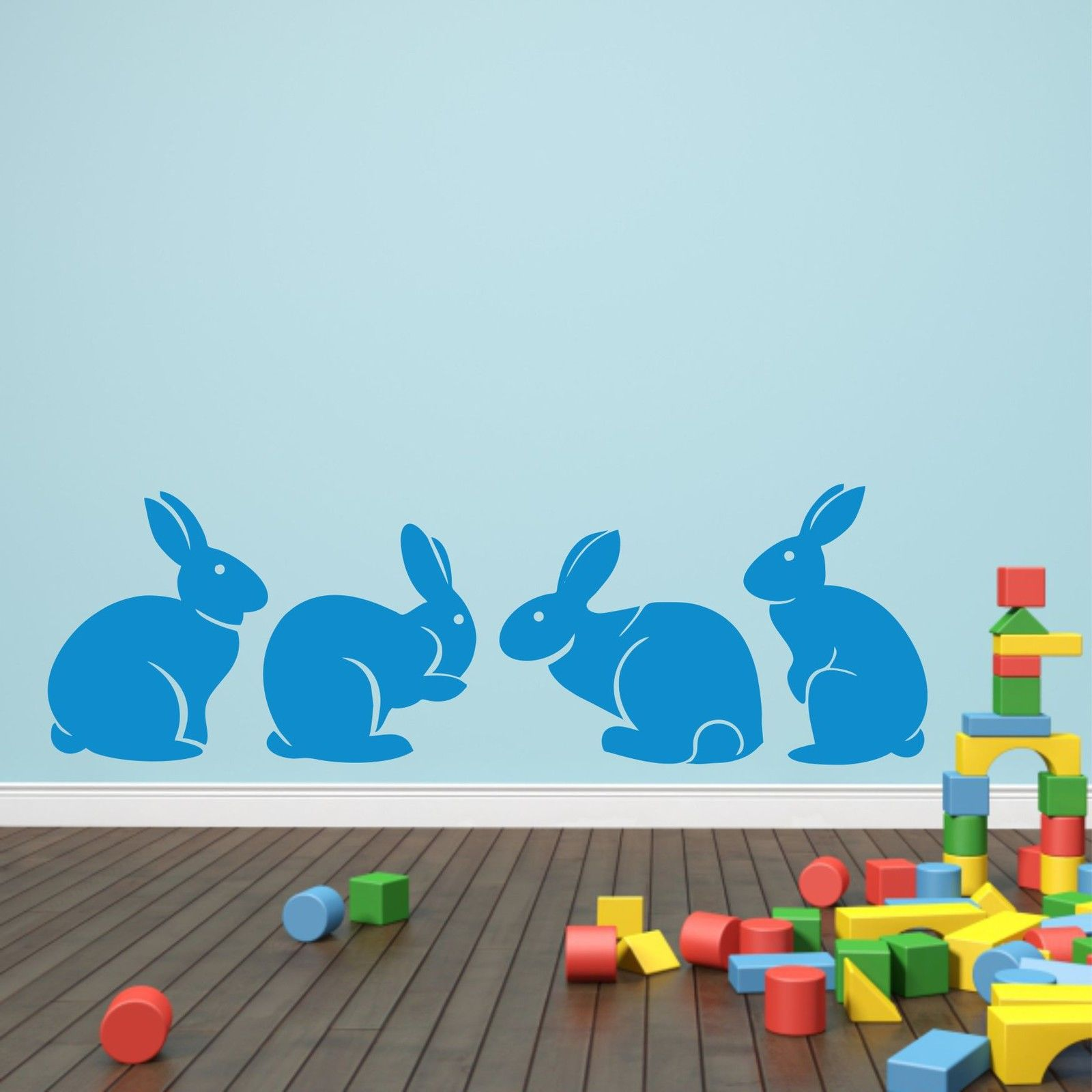 A007 Cute Bunny Rabbits Wall Sticker Baby Nursery Rabbitits Wall - Տնային դեկոր - Լուսանկար 5